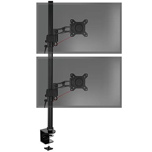 Duronic DM35V2X2 Support vertical double deux écrans PC pour bureau à pince - Potence 80 cm - Hauteur ajustable - Inclinable / Pivotable - Compatibilité universelle avec moniteur d'ordinateur LCD / LED VESA 75 / 100 - 1 Extension par bras