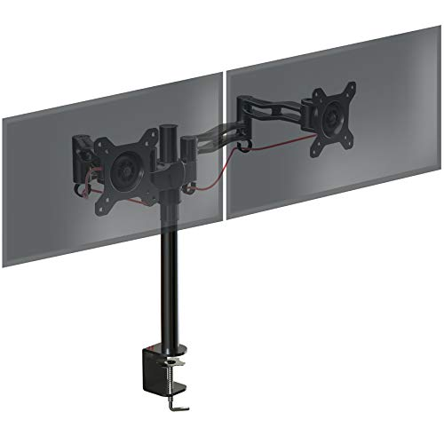 Duronic DM352 BK Support de 2 moniteurs à Pince pour Bureau - Hauteur Ajustable - Rotatif/Inclinable/Pivotable - Compatible avec moniteurs LCD/LED VESA 75/100 - Potence et Bras en Aluminium gameover.fr