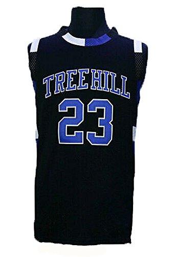 Être homme One Tree Hill Film # 23Nathan Scott Pull Couture et broderie de basket-ball noir noir XL