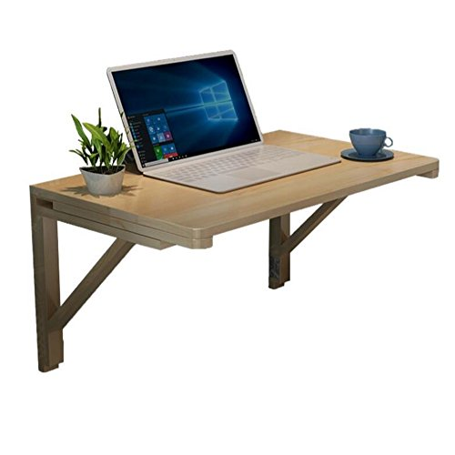 AJS Bureau Table Double Support avec Table Murale Table Murale Table Pliante Table en Bois Massif Table D'ordinateur Bureau Table À Manger A+ (Couleur : Wood, Taille : 80 * 40cm)