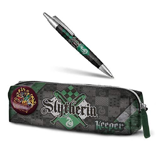 Trousse Harry Potter - Slytherin + stylo Harry Potter - Slytherin 14 cm