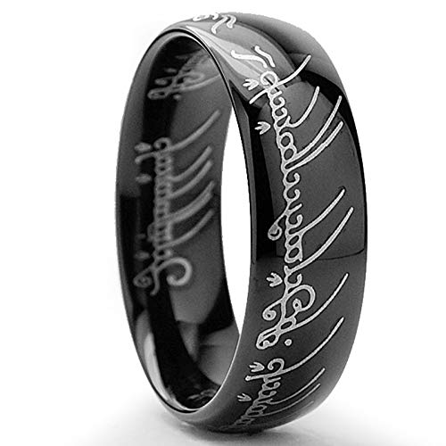 Ultimate Metals Co. 7MM Bague Tungstene Seigneur des Anneaux LORD OF THE RINGS Plaque Noir Taille