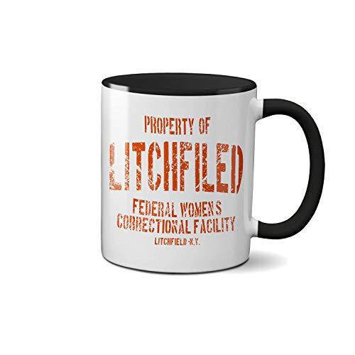 Litchfield Prison New York Orange Inspired Orange Is The New Black Tasse à thé à poignées et intérieur noir Tasse à café blanche Céramique 312ml