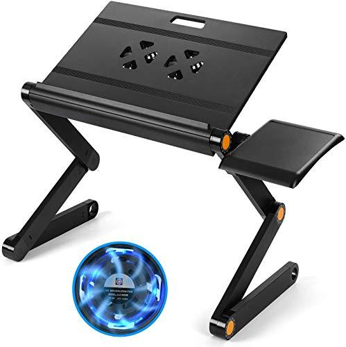 HUANUO Support réglable pour ordinateur portable – Plateau pour ordinateur portable avec hauteur et angle réglables, construit avec 2 ventilateurs de refroidissement CPU et plateau de souris