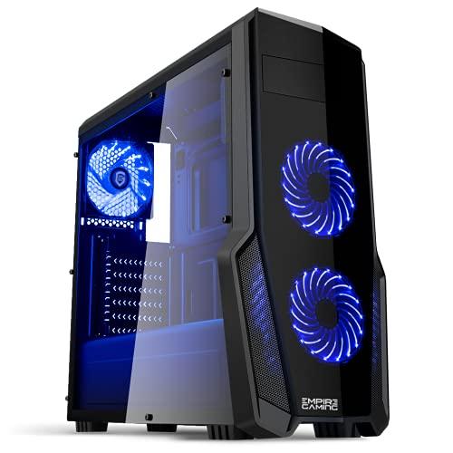 Empire gaming : Boitier PC Gamer WareFare Noir avec 3 Ventilateurs LED Bleu 120 mm, paroi teinté et transparente - Compatible ATX/mATX/mITX Nomai