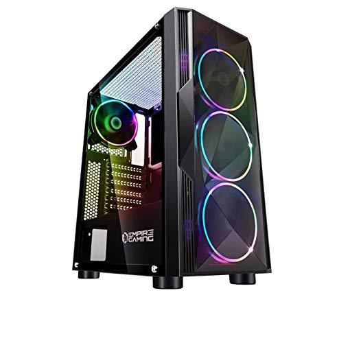 Empire Gaming : Boitier PC gamer Diamond Tour ATX ARGB Moyenne façade Plexiglas et Paroi Latérale en Verre Trempé et 4 Ventilateurs 5 Volts LED RGB gameover.fr