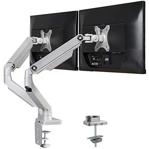 PUTORSEN® Support Moniteur Support de Bureau pour écran pc LCD LED OLED 17-32 (43-81 cm), à 2 Ecran, Ressort Mécanique, Charge Max 8kg par Moniteur, Aluminium de Haute qualité gameover.fr
