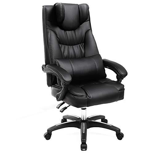 SONGMICS Fauteuil de Bureau avec Appui-tête modulable Chaise pivotant Design Ergonomique Noir Grande Taille OBG76B
