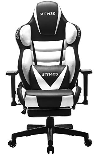 SITMOD Chaise Gaming Fauteuil Gamer Ergonomique 200kg Cuir PU Chaise Racing Pro, Inclinable Grande Taille Fauteuil pour Bureau Broderie Lumineuse Siège Gamer Bascule avec Repose Pied-Blanc