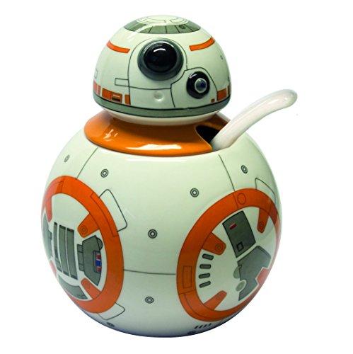 Joytoy Star Wars-BB Bol à Sucre avec cuillère en céramique Blanc/Orange 8 x 12 x 16 cm