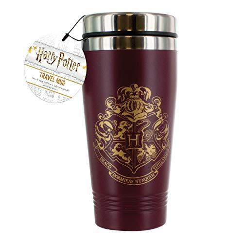 Mug de voyage Harry Potter Poudlard en acier inoxydable   Réutilisable   Bouteille isotherme pour café et thé   Facile à nettoyer   Double paroi isolante   Capacité 450 ml   Anti-éclaboussures