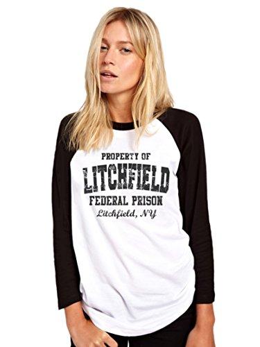 Litchfield (Fédéral de Prison Orange de baseball Noir–Logo noir T-shirt à manches longues pour femme Noir et Blanc Base Ball T-shirt Fashion