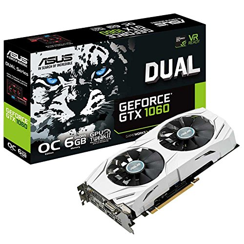 Asus DUAL-GTX1060-O6G Carte graphique Nvidia GeForce GTX 1060, 1809 MHz OC, 6GB GDDR5X 192 bit