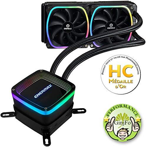 Enermax AquaFusion 240 Noir, AIO CPU, Watercooling pour processeurs Intel/AMD, Refroidissement Liquide avec 2 ventilateurs SquA RGB adressables Aurabelt, Central Coolant Inlet, Waterblock bicamériste
