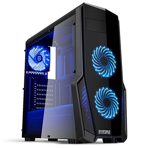 Empire gaming : Boitier PC Gamer WareFare Noir avec 3 Ventilateurs LED Bleu 120 mm, paroi teinté et transparente - Compatible ATX/mATX/mITX