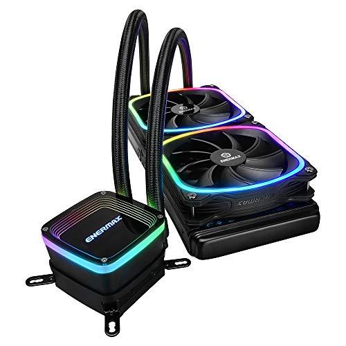 Enermax AquaFusion 240 Noir, AIO CPU, Watercooling pour processeurs Intel/AMD, Refroidissement Liquide avec 2 ventilateurs SquA RGB adressables Aurabelt, Central Coolant Inlet, Waterblock bicamériste gameover.fr