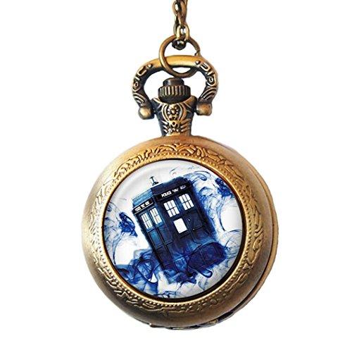 Doctor Who Motif Tardis inspiré Collier Montre de poche, montre en bleu Brume, police Box, Style Vintage