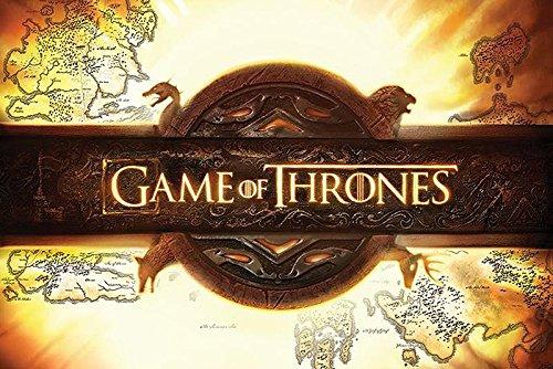 Game of Thrones Poster Logo (91,5cm x 61cm) + 2 tringles Noires avec Suspension