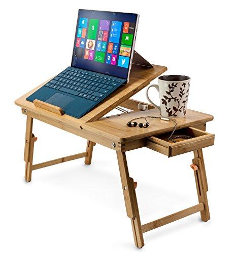 Aleratec Table de lit pliable en bambou naturel pour ordinateur portable jusqu'à 15' Nomai