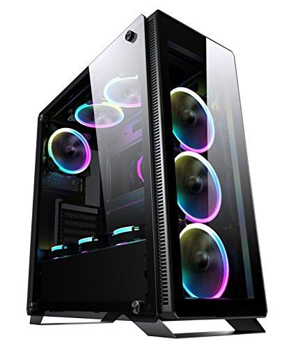Sahara P35 Noir en verre Trempé tour PC moyenne avec 4 x Turbo Pirate 12 cm True RGB gameover.fr