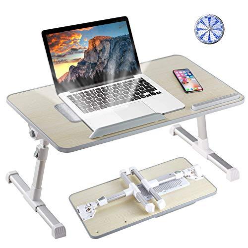 8AM Support réglable pour ordinateur portable avec pieds pliables pour lire et écrire sur les genoux (bois, moyen)
