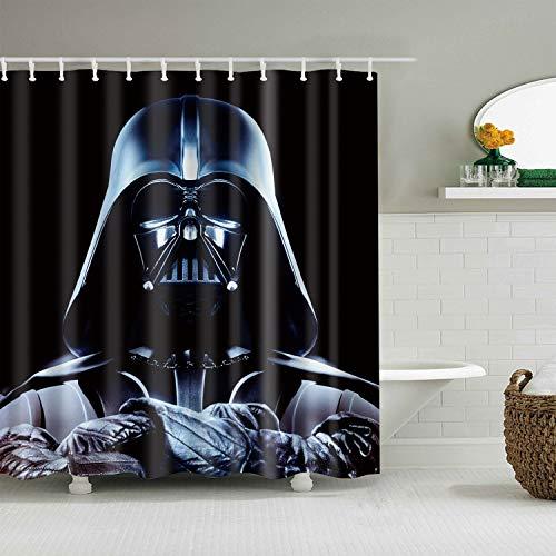 xuelizhou Personnages Star Wars sur Fond Noir Rideau de Douche Salle de Bain Tissu résistant à la moisissure Accessoires de Salle de Bain créatif avec 12 Crochets 180X180CM