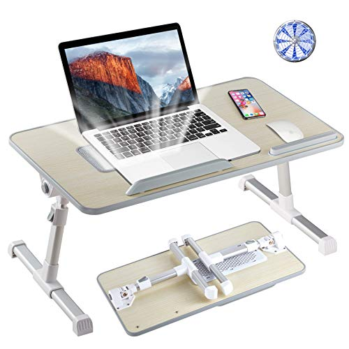 8h Support réglable pour ordinateur portable portable avec pieds pliables pour ordinateur portable de lecture et d'écriture Plateau pour manger dans le lit, le canapé, le sol Medium bois Nomai