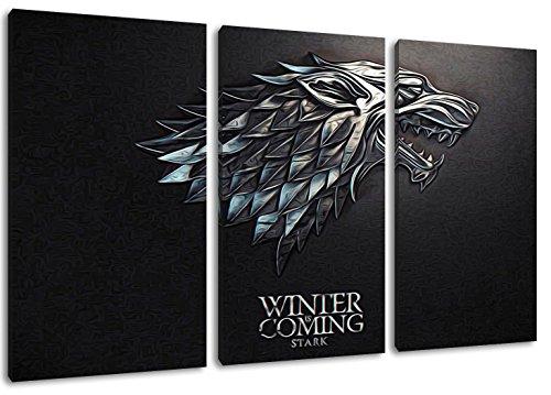 Dark Stark, Game of Thrones Thème, 3 pièces sur toile (taille totale: 120x80 cm), de haute qualité art print comme murale. Moins cher que une peinture à l'huile! ATTENTION NO affiches ou affiche!