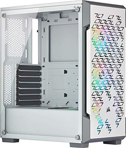 Corsair iCUE 220T RGB Airflow, Moyen-Tour ATX Boitier Gaming en Verre Trempé - Blanc
