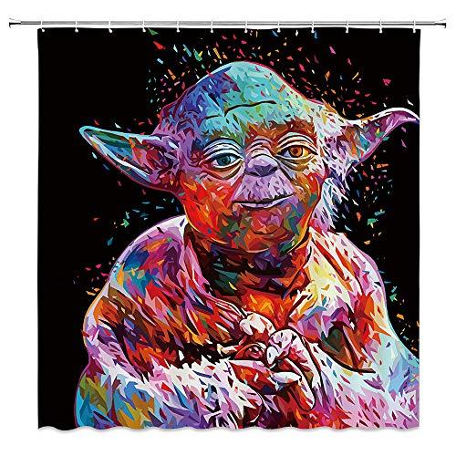 AMNYSF Rideau de Douche en Polyester imperméable avec Crochets Motif Animaux tropicaux et Fleurs de l'océan Tropical, Motif Star Wars 70x70 inch Multi 011
